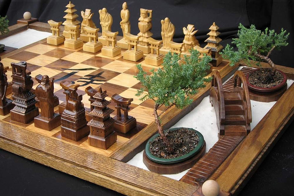 Шахматы с садом Бонсай Samurai Chess Set