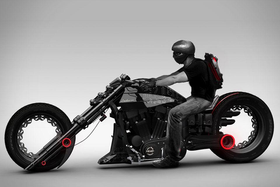 Супер мотоцикл Lochness с безосевыми колесами