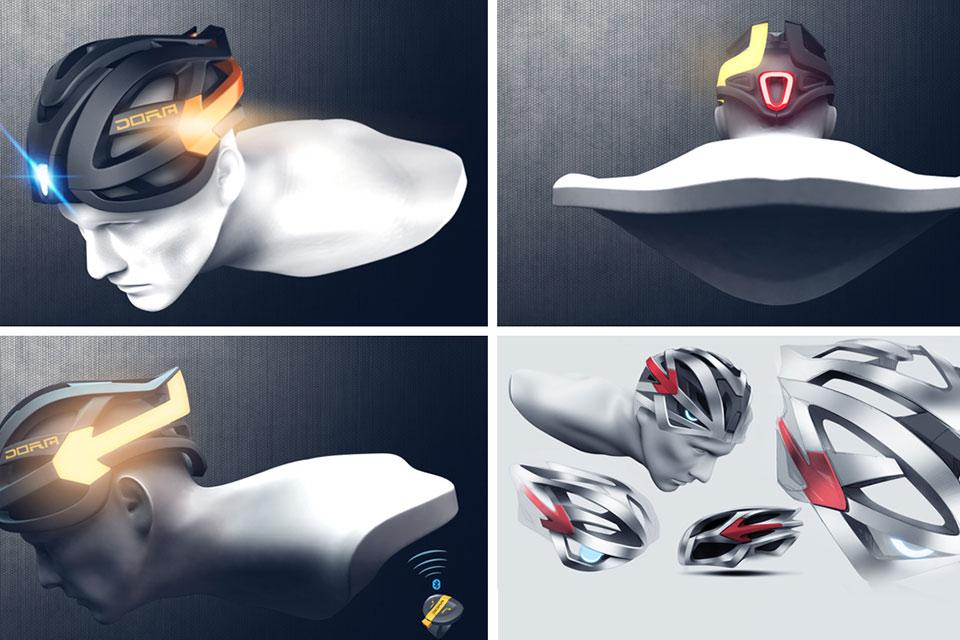 Велосипедный шлем DORA с сигнальными огнями