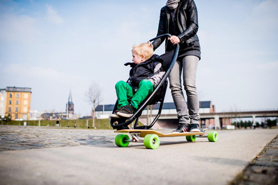 Скейтборд-коляска Longboard Stroller