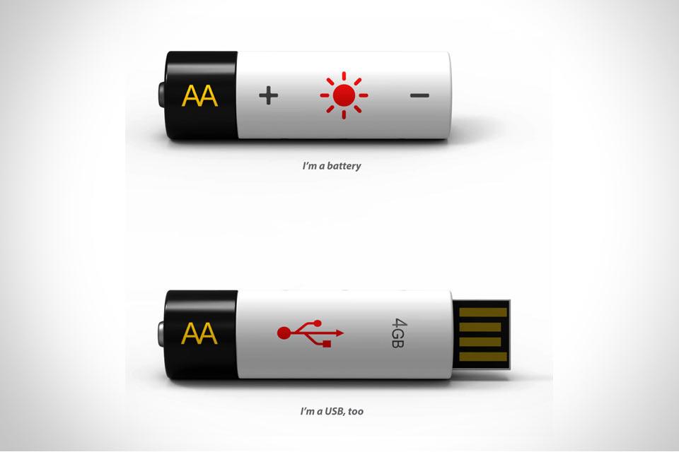 АА-аккумулятор и флешка Rechargeable AA Battery USB Drive