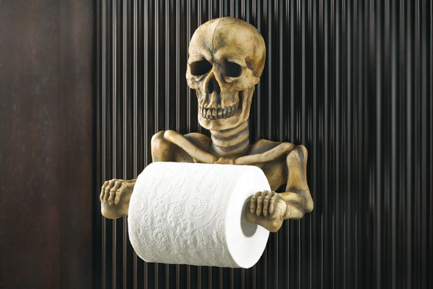 Classic-Gothic-GRINNING-SKELETON-TOILET-PAPER-ROLL-HOLDER-Bathroom-Wall-Decor-Skull-Bone