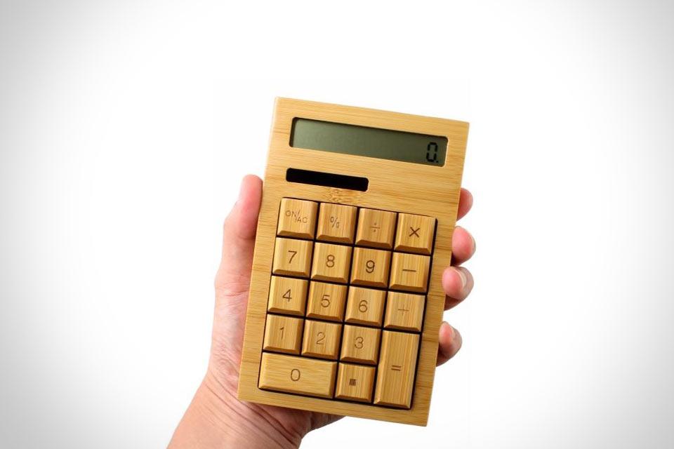Бамбуковый калькулятор с солнечной батарейкой DN-84801