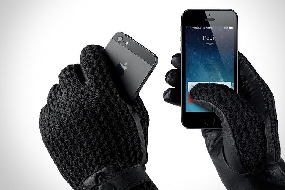 Кожаные перчатки Mujjo Leather Crochet с поддержкой тачскрина