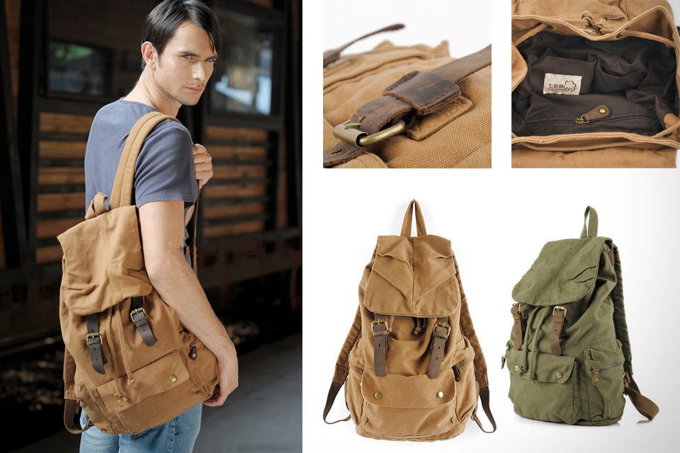 Mens-Vintage-Canvas-Leather-Hiking-Travel-Military-Backpack