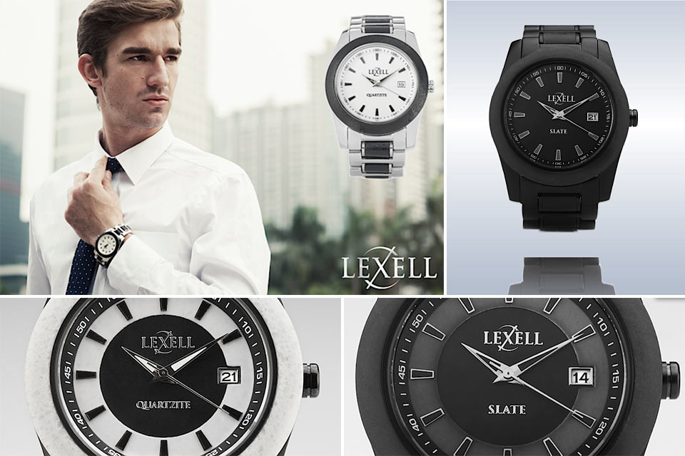 Каменные наручные часы Lexell