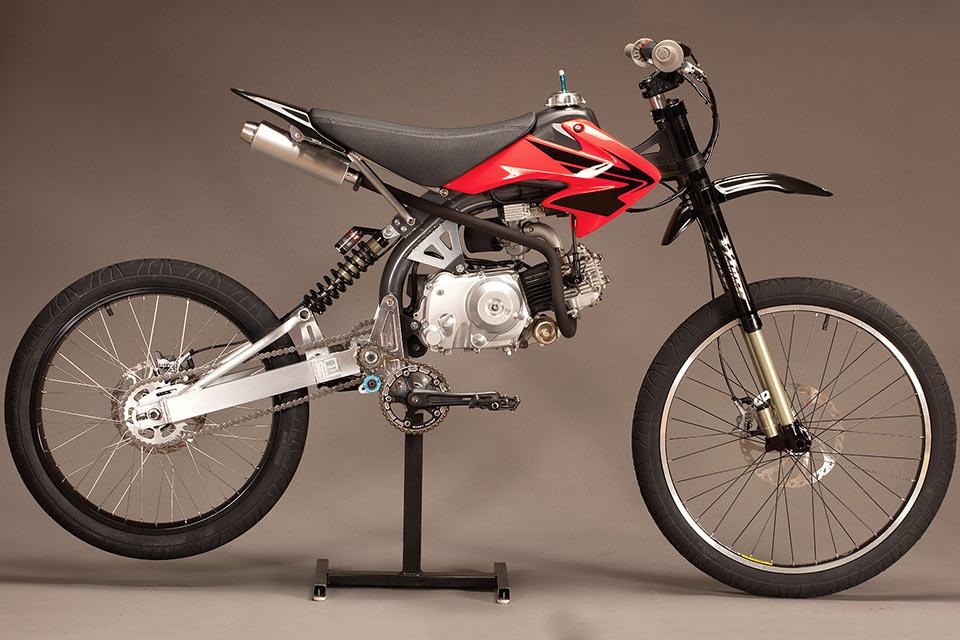 Гибрид горного велосипеда и мотоцикла Motoped