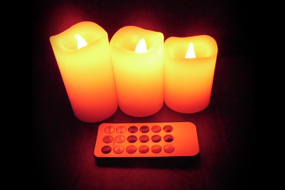 Восковая светодиодная свеча LED Candle с пультом управления