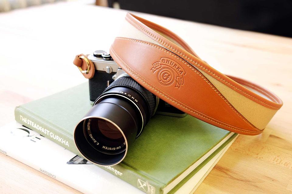 Кожаный ремень для фотокамеры Ghurka Khaki Twill
