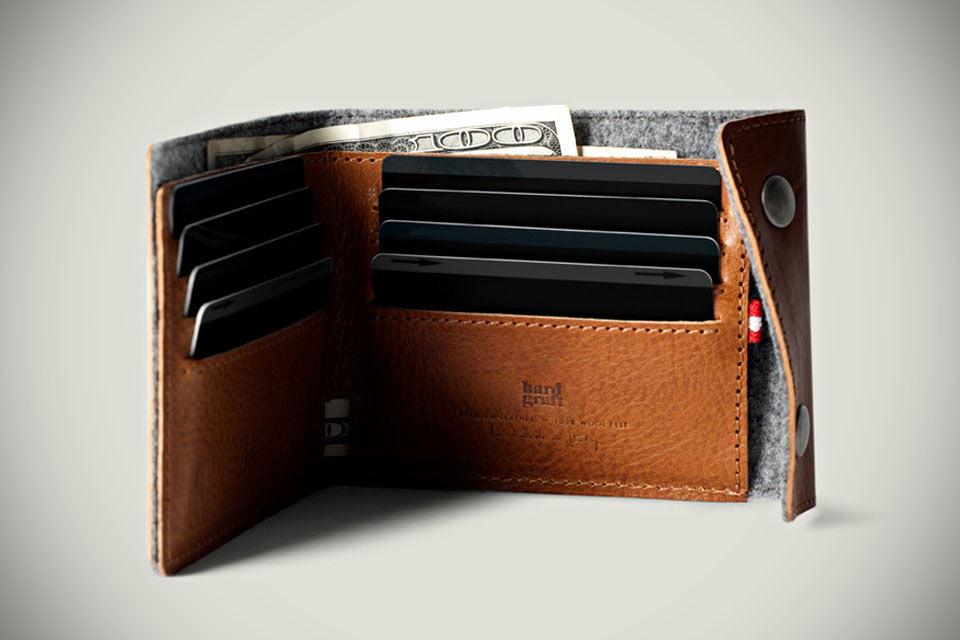 Классический бумажник Hard Graft Snap из кожи и фетра