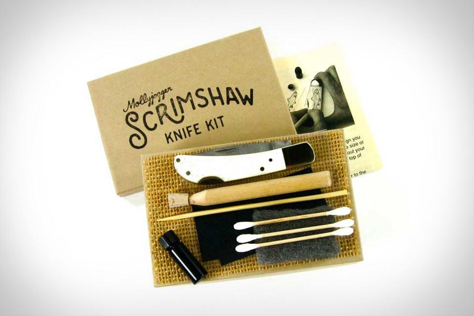 Персонализируемый складной нож Scrimshaw Knife с костяной ручкой