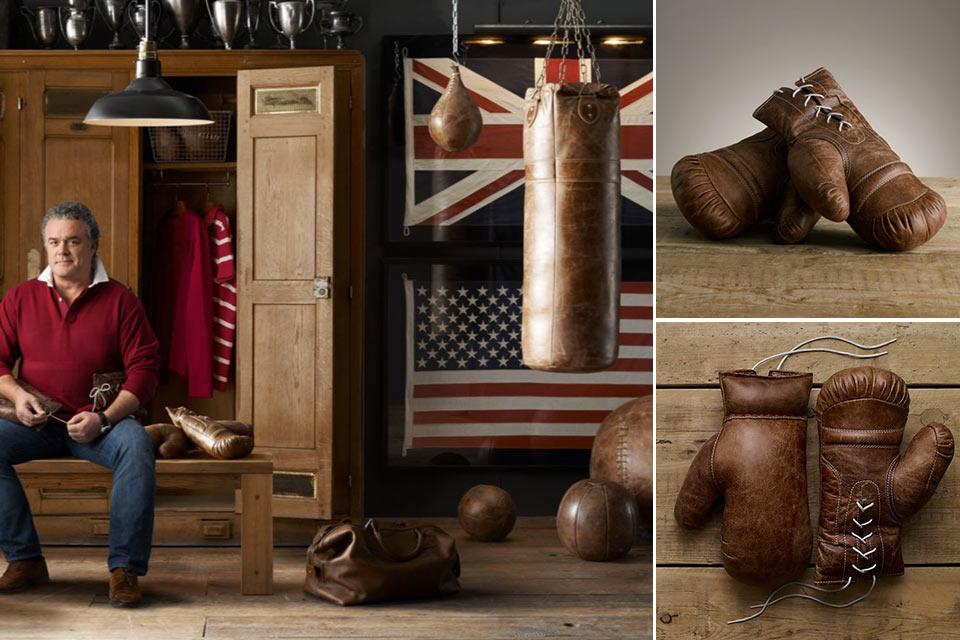 Винтажные боксерские перчатки Restoration Hardware Vintage Leather Boxing Gloves