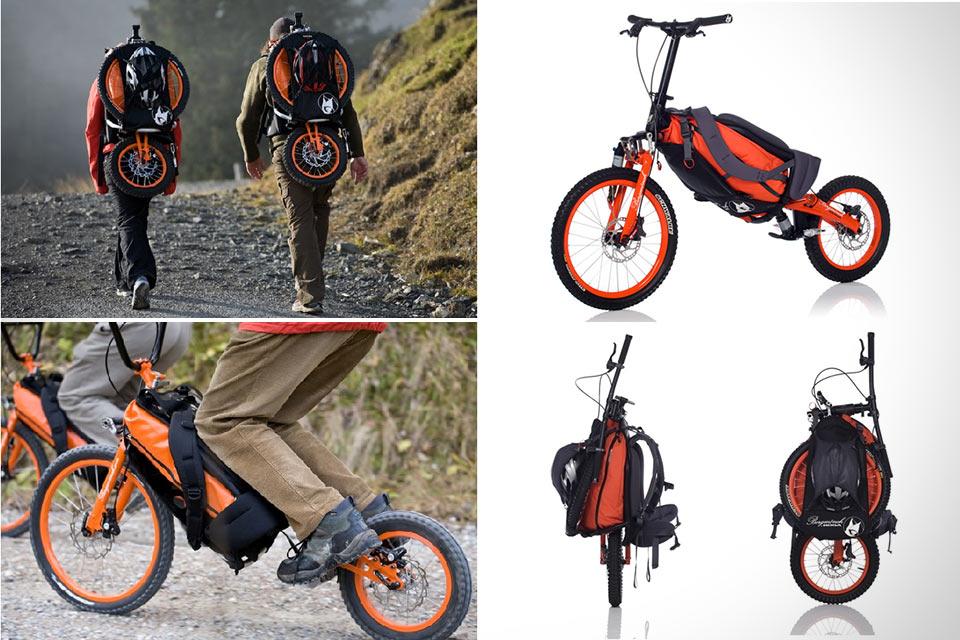 Превращающийся в рюкзак велосипед Bergmonch для скоростного спуска