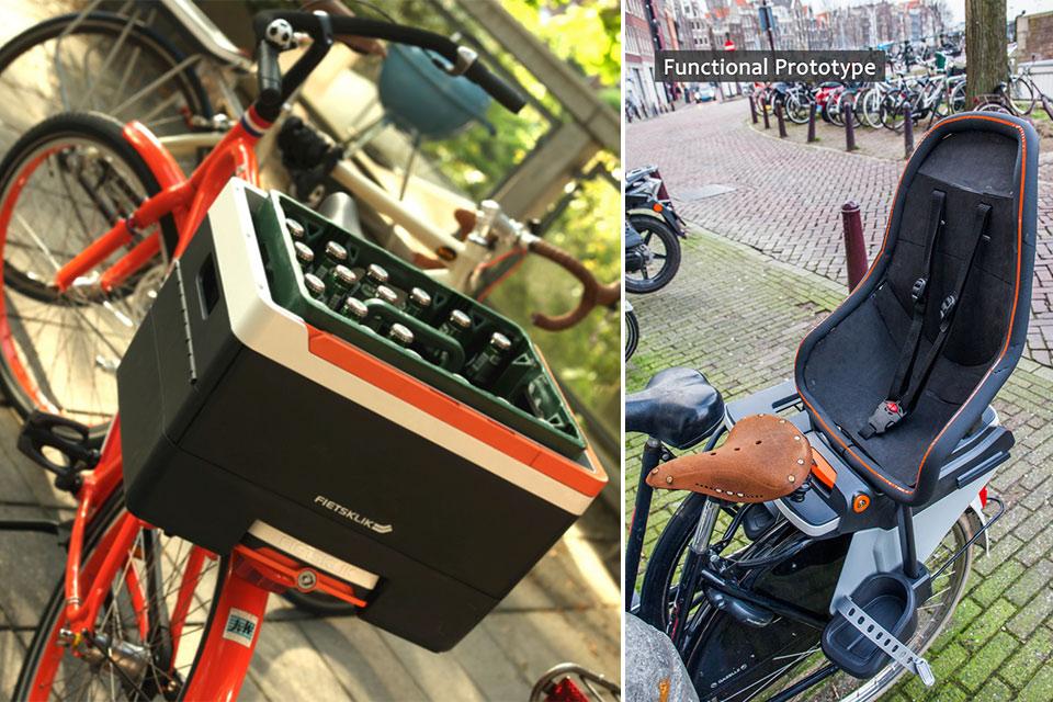 Велосипедная система Fietsklik для удобной перевозки вещей и детей