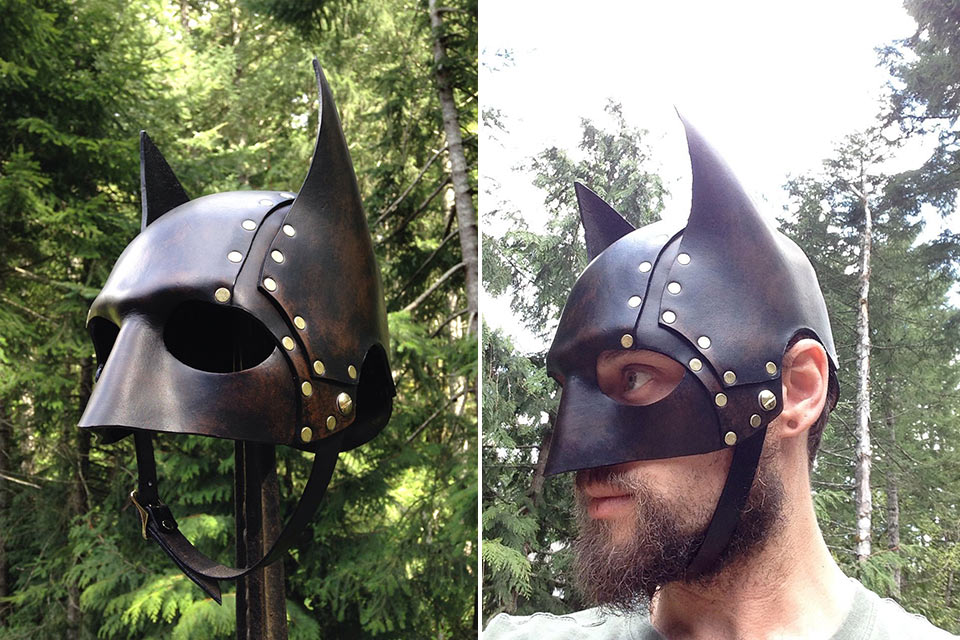 Кожаный стимпанк-шлем Бэтмена