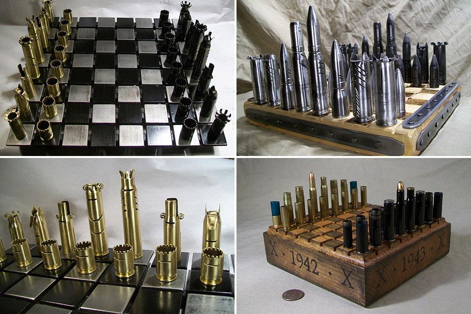 Шахматы Bullet Chess из гильз и фальшпатронов