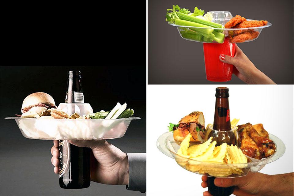 Тарелка Go Plate, способная размещаться на стаканах и бутылках