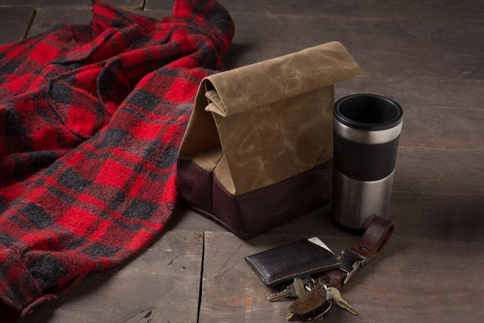 Сумка для еды Leather Lunch Bag из кожи и вощеной парусины