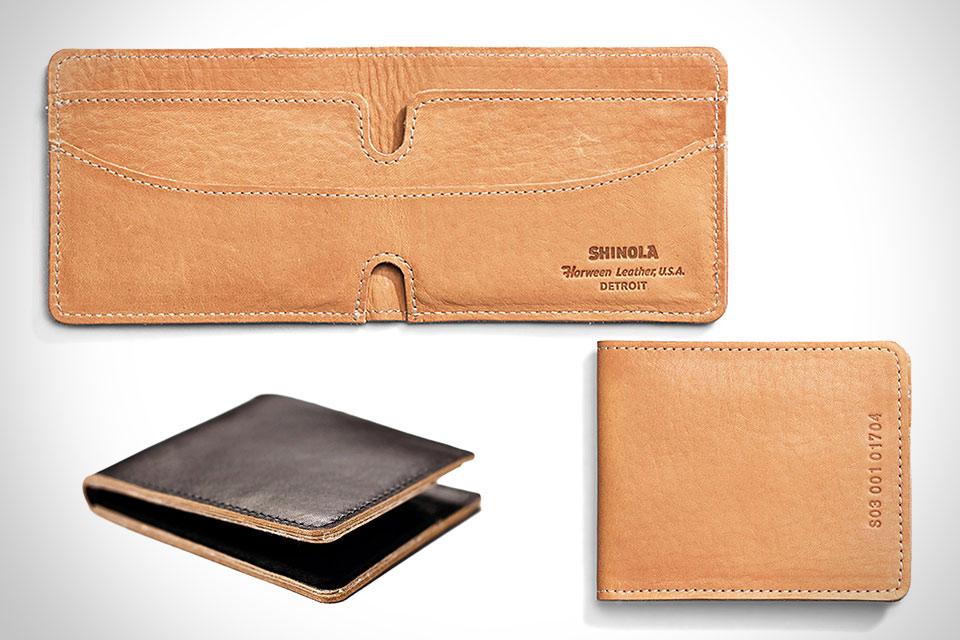 Минималистичный кошелек Shinola Bifold Wallet из кожи от Horween
