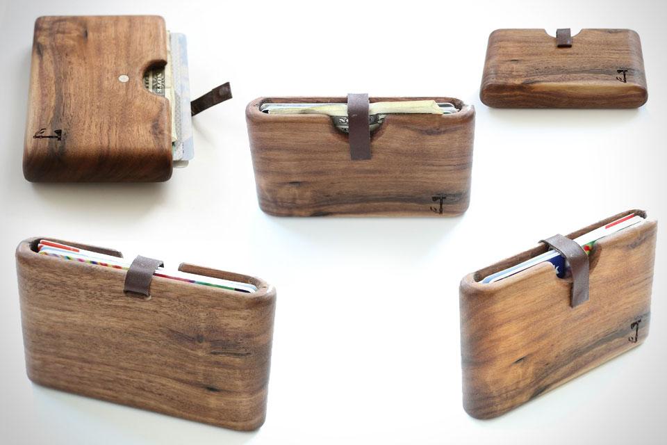 Выточенный из цельного деревянного бруска кошелек Walnut Wood Wallet