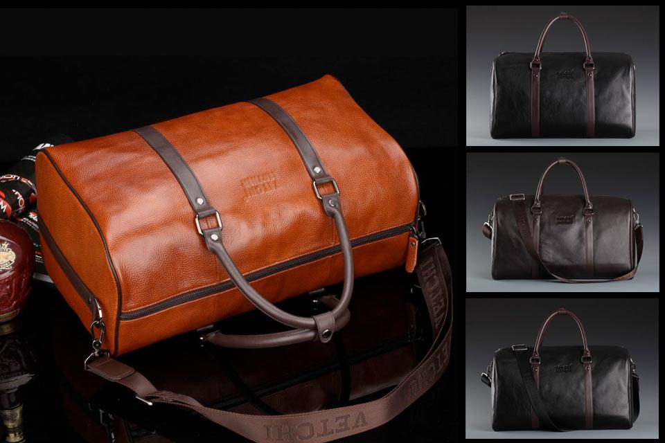 Недорогая дорожная сумка из натуральной кожи