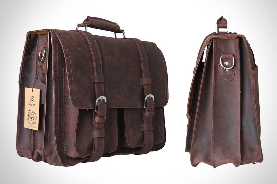 Кожаный портфель-трансформер Kattee Real Leather для ноутбука