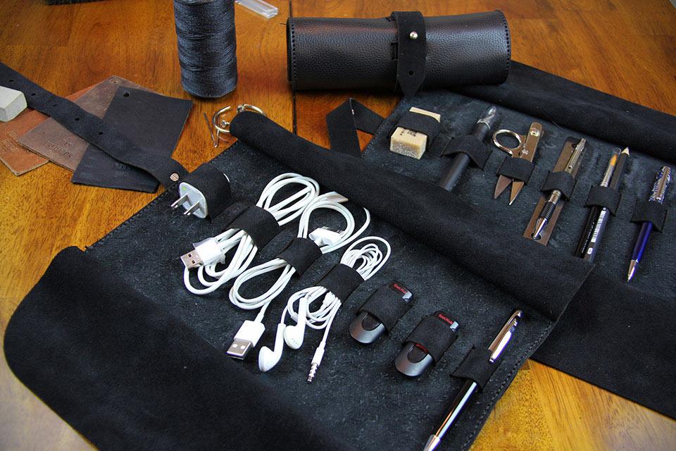 Сворачивающийся кожаный чехол Bronxton для EDC-вещей