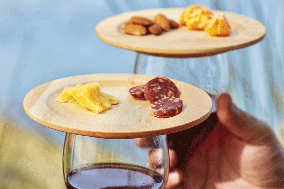 Деревянные тарелочки Wine Glass Appetizer для винных закусок