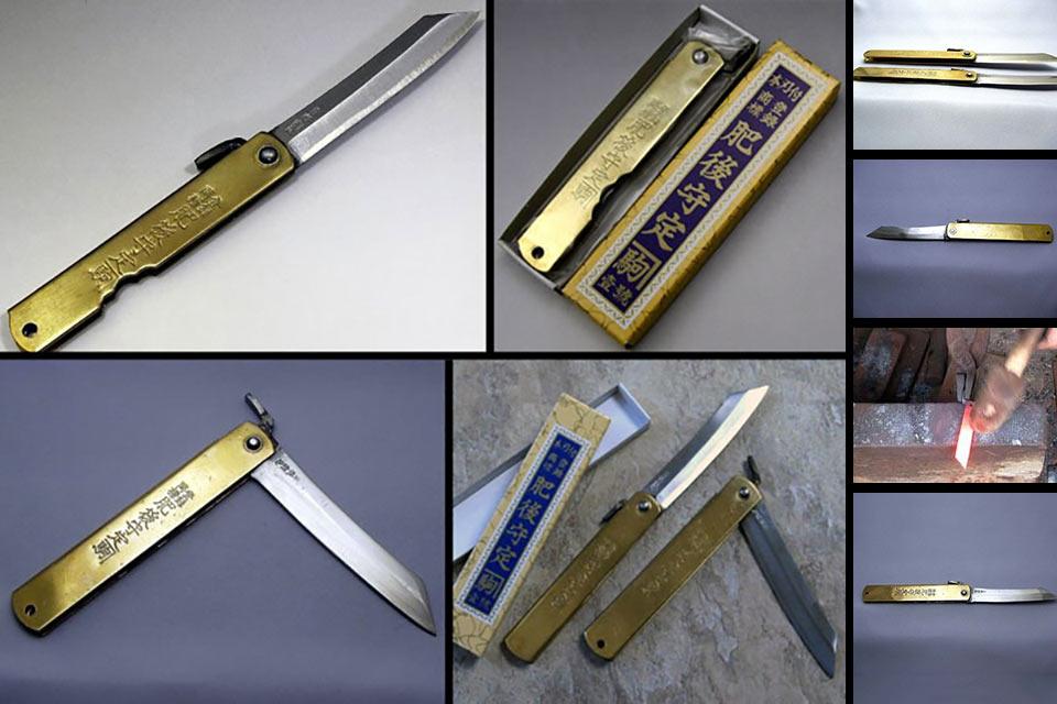 Выкованный вручную в Японии традиционный складной нож Higo no Kami