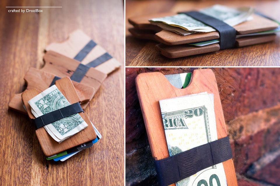 Минималистичный кошелек droolBox TheSingle из дерева и велокамеры