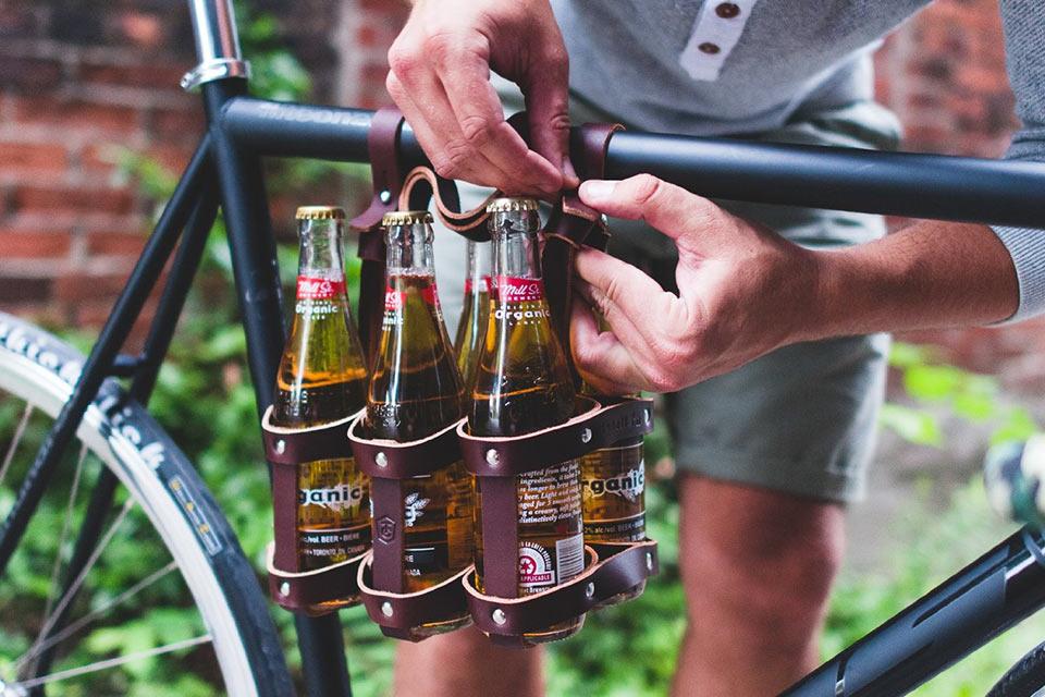 Пивная велосумка Fyxation Leather Bicycle Carrier из натуральной кожи и стали