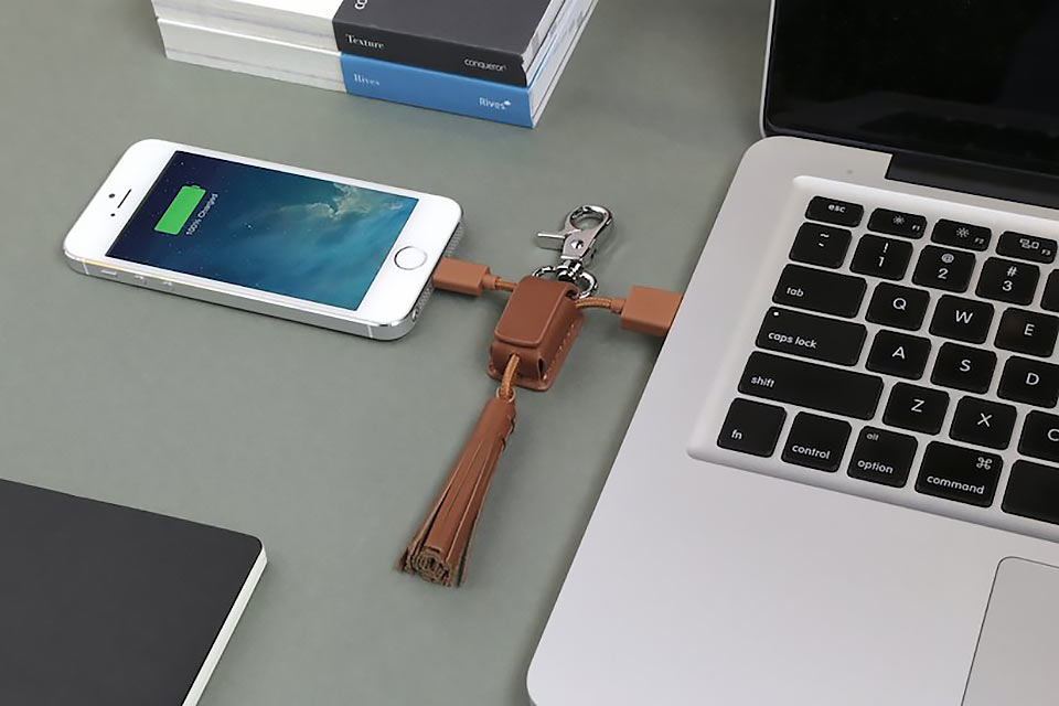 Кабель-брелок из натуральной кожи Power Link Tassel для зарядки портативных гаджетов