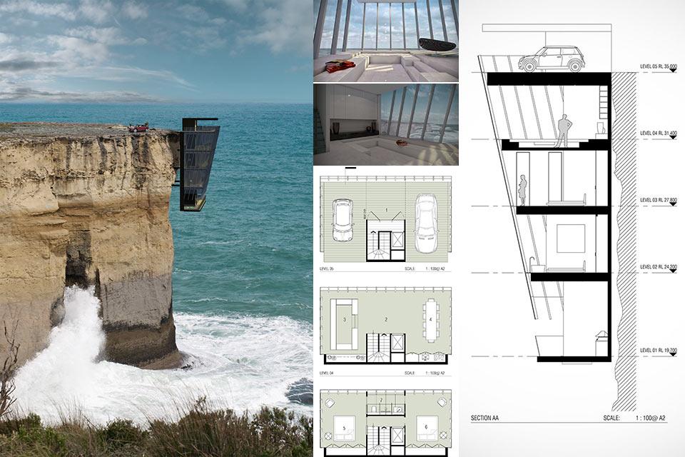 Дом Cliff House, свисающий со скалы над бушующим морем