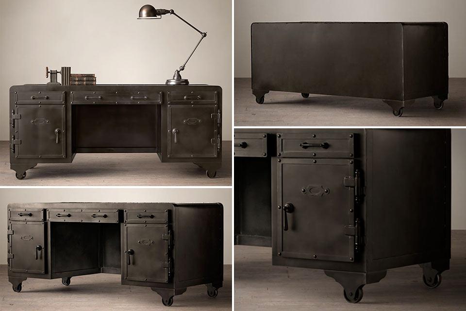 Стальной письменный стол Iron Vault весом в 165 кг