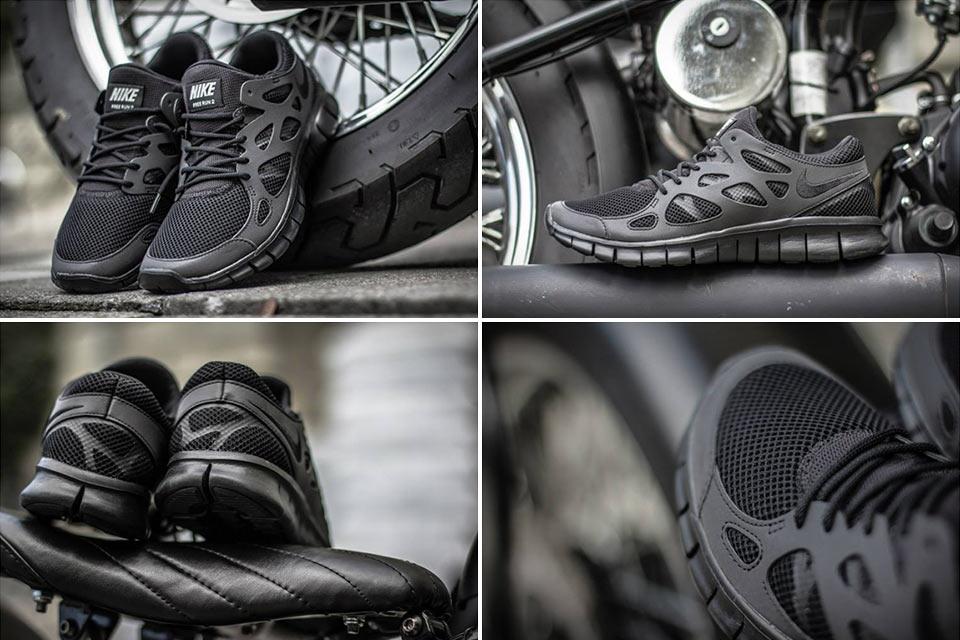 Черные-черные кроссовки Nike Free Run 2 Triple Black