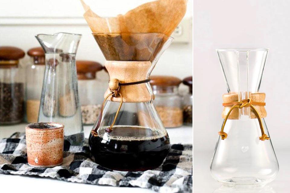 Стеклянная кофеварка Chemex с держателем из дерева и кожи