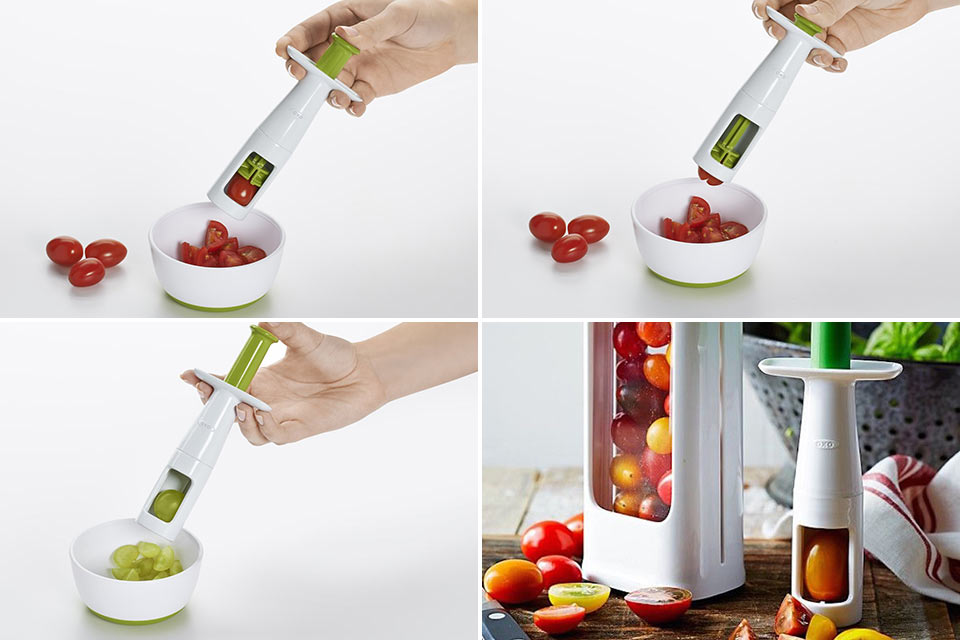 Инструмент OXO Tot для быстрой нарезки помидоров и винограда