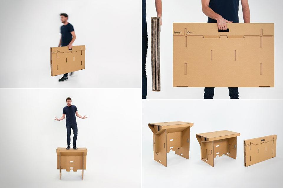 Картонный стол Refold, который можно носить с собой