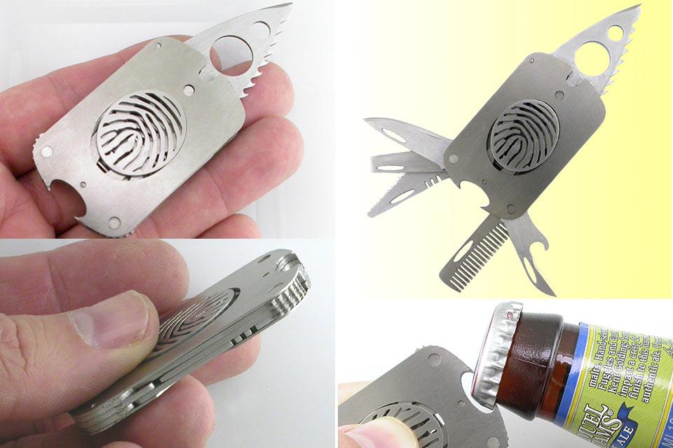 Титановый мультитул-оружие The Man Tag в форме армейского жетона