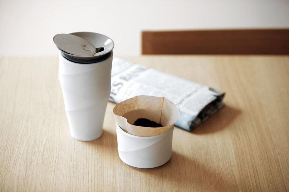 Портативный кофейный стакан WAVE из керамики и с двойными стенками