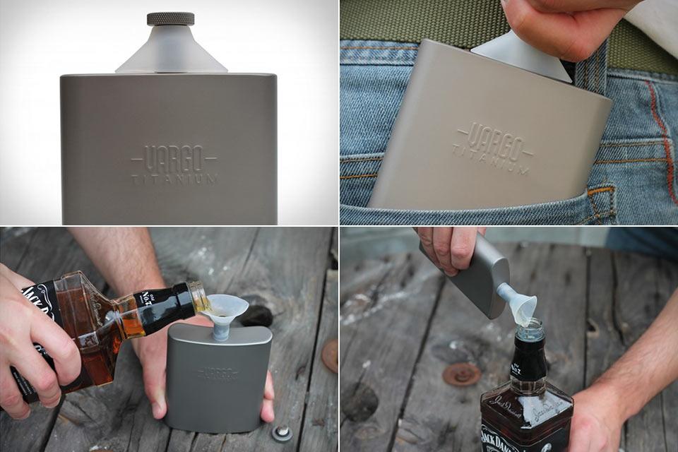 Титановая фляга Vargo Titanium Flask со встроенной воронкой