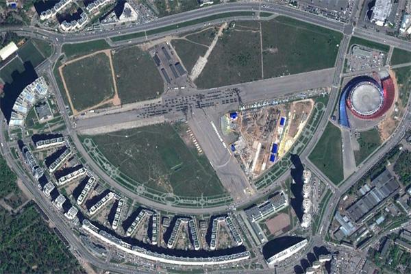 Ансамбль Ходынского бульвара в Москве на картах Гугла